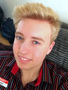 Thomas modelling his new blonde hair colour. http://beautyeditor.ca/2015/01/01/popular-posts-2014