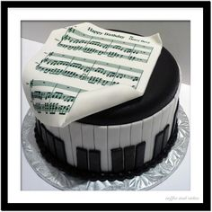 This beautiful one tier cake featuring piano accent and edible sheet music on top is perfect for the musician or music lover in anyone'. Birthday Cake Nyc, Birthday Cakes For Men, Music Themed Cakes, Music Cakes, Best Sugar Cookie Recipe, Best Sugar Cookies, Cupcakes, Cupcake Cakes, Piano Cakes