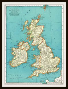 Antique Map BRITISH ISLES & EUROPE by KnickofTime