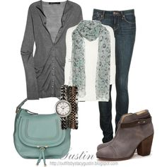 Teal and gray  #style #fashion