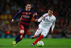 Lionel Messi of FC Barcelona runs with the ball under pressure from Sebastian Cristoforo of Sevilla FC during the La Liga match between FC Barcelona and Sevilla FC at Camp Nou on February 28, 2016 in Barcelona