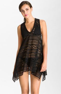 5b02dd62ccf32 Robin Piccone 'Penelope' Crochet Kerchief Cover-Up Dress available at  Nordstrom Dressed Stone