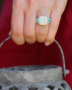 Huge smile & a big YES guaranteed 💙WeddingWednesday #gorgeousandengaged #ericacourtney #weddinginspiration #bridal #DreamWedding #SheSaidYes #jewelry #dropdeadgorgeous #jewels #jewelrydesign #paraiba #paraibatourmaline #diamond #diamonds #engagementring #engagement #diamondring #custom #ring #bridetobe #shesaidyes #sayyes #ido #bride #wedlux #theknot #theknotrings #ringoftheday #dreamring