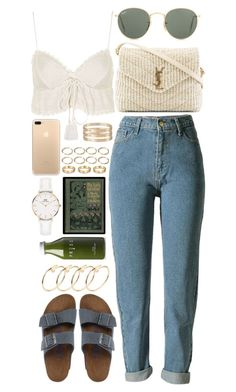 """""""BERLIN"""" by crisarranz ❤ liked on Polyvore featuring Topshop, Birkenstock, Yves Saint Laurent, Ray-Ban, Forever 21, Cartier and Daniel Wellington"""