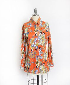 Vintage 1970s Disco Shirt  Novelty Print Poly Orange Asian