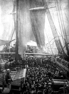 Extremely rare photo of packed slave merchant ship.