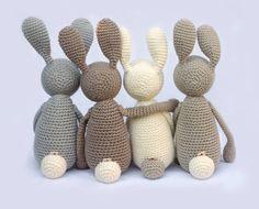 Nudge Hare Bunny, crochet amigurumi critter by eineIdee for sale on Etsy