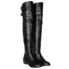 Over The Knee Flat High Boots w/Buckle Accent 3 Colors