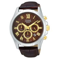 Men's Pulsar Chronograph - Brown Leather Strap - PT3397