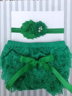 Baby girls green lace bloomer set, St. Patricks Day baby outfit, lace baby outfit, photo prop, baby shower gift by IssaBugsBoutique on Etsy https://www.etsy.com/listing/218749775/baby-girls-green-lace-bloomer-set-st
