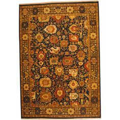 Herat Oriental Indo Hand-knotted Vegetable Dye Oushak Navy/ Rug