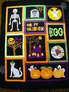 "Halloween quilt, 42 x 52"", a finished quilt at The Christmas Window quilt shop"