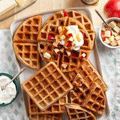 Apple Spice Waffles Apple Recipes Easy, Homemade Apple Pies, Pumpkin Waffles, Pancakes And Waffles, Mcintosh Apples, Walnut Butter, Waffle Ingredients, Biscuit Mix