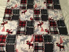 Rag quilt. Baby boy. Moose flannel. Rustic nursery. Cabin fever.