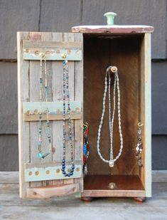 Rustic Wood Jewelry Box For Hanging Necklaces And Bracelets. Looks Like Mini…