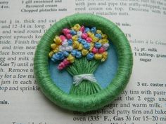 Dorset button brooch embroidered french knot by Ruthsemporium