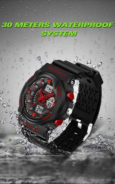 Aliexpress.com : Buy Sanda Sports Watches Men LED Analog Digital Watch Black PU Watchband Waterproof Shock Fashion Quartz Wristwatch Japan Movmt 241G from Reliable watch holder suppliers on Bin Fashion Shopping-Mall