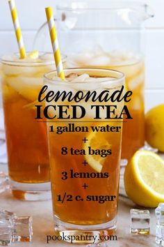 Lemonade and iced tea are the official beverages of summer. Lemonade iced tea combines classic sun tea with lemonade to make a delicious summer drink. #lemonade #icedtea #icedtearecipe #arnoldpalmer #suntea Refreshing Cocktails, Summer Drinks, Fun Drinks, Cocktail Drinks, Healthy Drinks, Beverages, Cocktail List, Cold Drinks, Smoothie Drinks