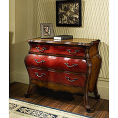 bombay chests hand painted | Hand-painted Cherry/ Chestnut Bombay Accent Chest - Overstock ...