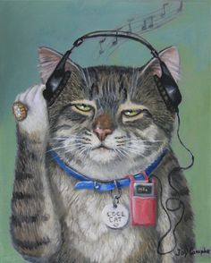 """Nice -""""This Kitty Loves Music"""" par Joy Campbell Crazy Cat Lady, Crazy Cats, Image Chat, Curious Cat, Cat Colors, Cat Drawing, Pics Art, Cat Love, Cool Cats"""