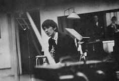 George in the studio photographed by Ringo