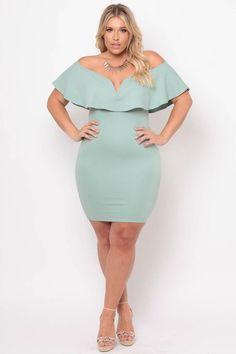 Plus Size Frill Bodycon Dress - Mint