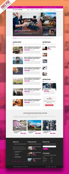 Download Multipurpose Magazine Blog Web Template Free PSD. This Free Multipurpose Magazine Blog Web Template PSD is a clean and elegant blog theme, created for those people that want to share their latest News, magazine, fashion, food, travel blog and more. The Free PSD file is fully layered,  customizable and all elements are in groups.
