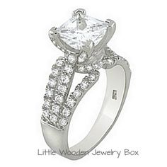 Princess Cut CZ Vintage Engagement Bridal Ring 925 Sterling Silver 4 5 6 7 8 9 #SolitairewithAccents