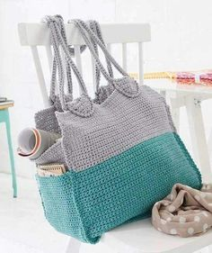 Crochet Bag with pockets on the side.
