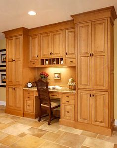 built in desk in kitchen (-) hutch section, what I have now. I love built ins. Not this color tho
