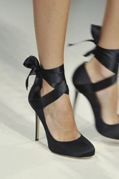 Heels with ballet ribbon