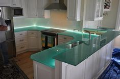 Glass countertop with LED illumination