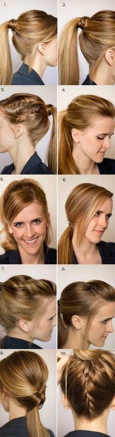 10 Different Ways To Wear A Ponytail. Need this since my hair IS always in a ponytail. Love Hair, Great Hair, Gorgeous Hair, Work Hairstyles, Pretty Hairstyles, Ponytail Hairstyles, Updos, Corte Y Color, About Hair