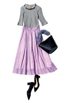 グレーとラベンダーの大人グラデに♡ Skirt Fashion, Hijab Fashion, Fashion Outfits, Japanese Outfits, Japanese Fashion, Daily Fashion, Love Fashion, Womens Fashion, Modest Dresses