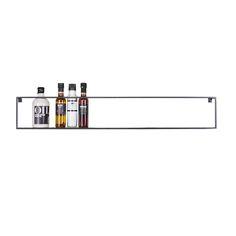 Deze wandplank metaal is multifunctioneel. Het zwart metalen frame voor aan de muur kan gebruikt worden als keukenplank, opbergplank of keukenrekje.