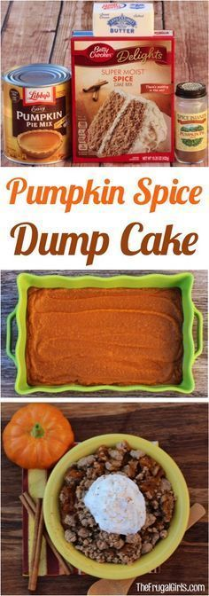 just 4 ingredients - The Frugal Girls - Easy Pumpkin Spice Dump Cake Recipe! Just 4 ingredients and you've got the ultimate Fall dessert! Pumpkin Recipes, Fall Recipes, Holiday Recipes, Pumpkin Cider Recipe, Pumpkin Pie Mix, Pumpkin Dessert, Pumpkin Dump Cakes, Easy Pumpkin Cake, Pumpkin Spice Cake