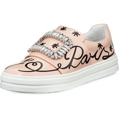 Roger Vivier Sneaky Viv Love Paris Sneaker ($1,595) ❤ liked on Polyvore featuring shoes, sneakers and pink