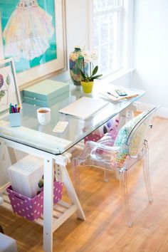 Pretty colorful home office workspace