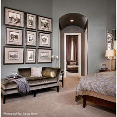 traditional bedroom by Laura Britt Design. wall paint color??? Rhino 710E-3 by Behr or Unusual Gray by Sherwin Williams.