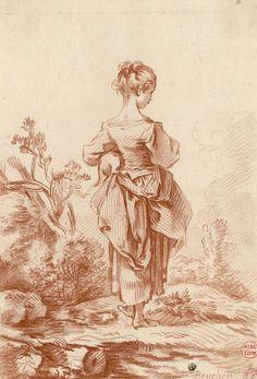 [Peasant girl with a cat in her left arm] | Gilles Demarteau | 18th century | Bibliothèque municipale de Lyon | Public Domain