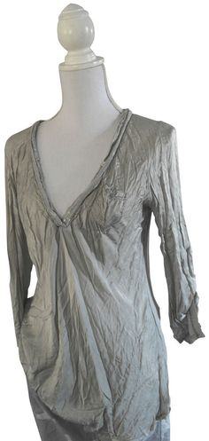 Impressionen Bluse mit Seide hellgrau grau grey batik Pailletten Shirt 36 38
