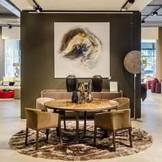 This painting by Caro Allum looks great with the GOLD dining table and MORGANA chairs Limited Edition Prints, Service Design, Showroom, Print Design, Contemporary Art, Original Paintings, Table Settings, Africa, Chairs