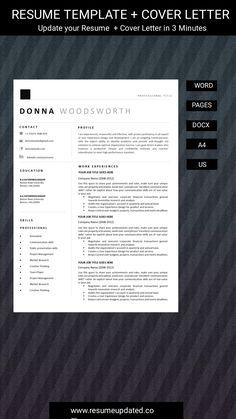 Modern Resume Template, Cv Template, Resume Templates, Cover Letter For Resume, Cover Letter Template, Cv Words, Job Resume, Word Design, Creative Resume