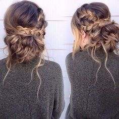 To make an updo, you must bundle all of your hair up. Your short hair can become a lovely wispy updo! Even when you have short hair, it's still possib. Messy Bun With Braid, Messy Braids, Updos With Braids, Braid Buns, Crown Braids, Loose Braids, Messy Buns, Homecoming Hairstyles, Wedding Hairstyles