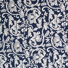 Dark Navy/White Floral Printed Stretch Cotton Poplin - Fashion Fabrics