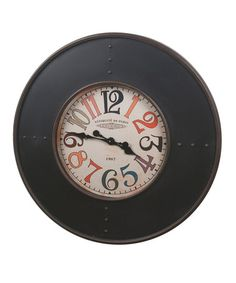 Loving this Large Chalkboard Metal Wall Clock on #zulily! #zulilyfinds