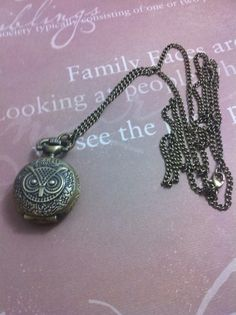 Vintage Owl Necklace Watch