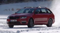2016 Skoda Octavia Combi RS Accelerating on the Snow