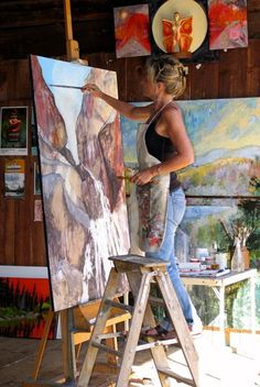 at Work Painter Holly Friesen adds final touches to a large canvas. Painter Holly Friesen adds final touches to a large canvas. My Art Studio, Painting Studio, Art Studio Design, Atelier D Art, Artist At Work, Artist Life, Art Studios, Painting Inspiration, Landscape Paintings