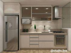 Cozinha pequena e cha. Basement Kitchen, Condo Kitchen, Modern Kitchen Cabinets, Kitchen Sets, Apartment Kitchen, Home Decor Kitchen, Kitchen Interior, Home Interior Design, Home Kitchens